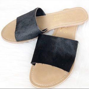 Coconuts Calf Hair Black Flat Slides Sandal